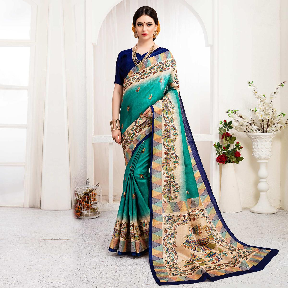 Eye-Catching Turquoise Green Colored Festive Wear Khadi Silk Saree