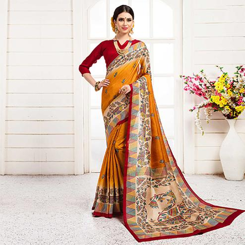 Traditional Yellow Colored Festive Wear Khadi Silk Saree