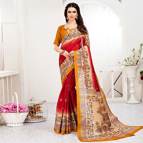 Beautiful Red Colored Festive Wear Khadi Silk Saree