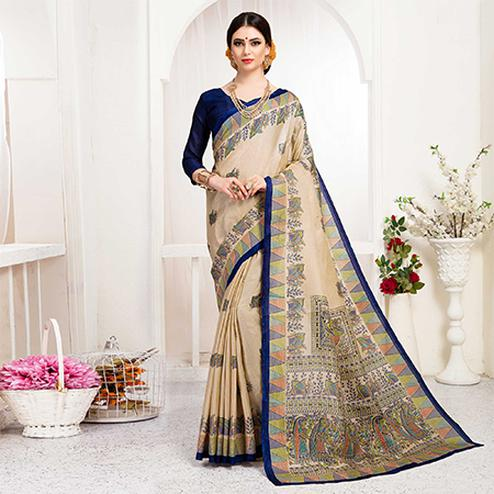 Pleasance Cream-Blue Colored Festive Wear Khadi Silk Saree
