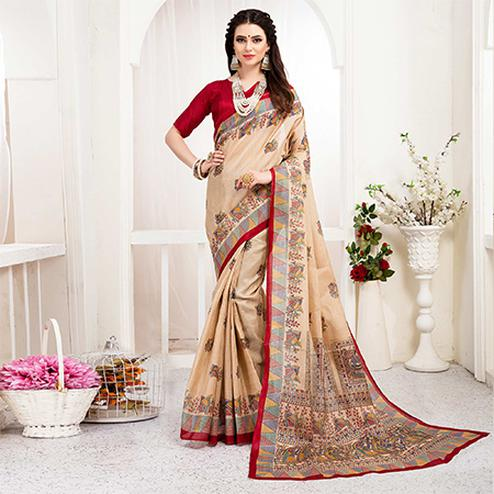 Classy Cream-Red Colored Festive Wear Khadi Silk Saree