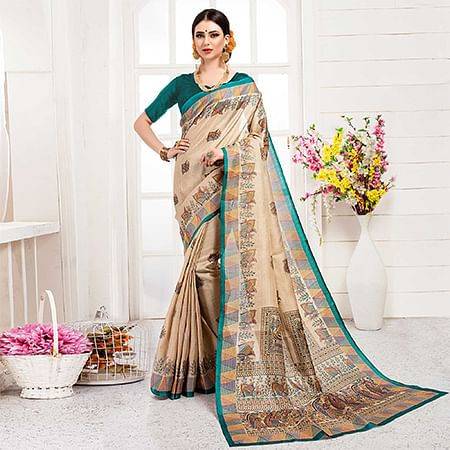 Lovely Cream-Turquoise Green Colored Festive Wear Khadi Silk Saree
