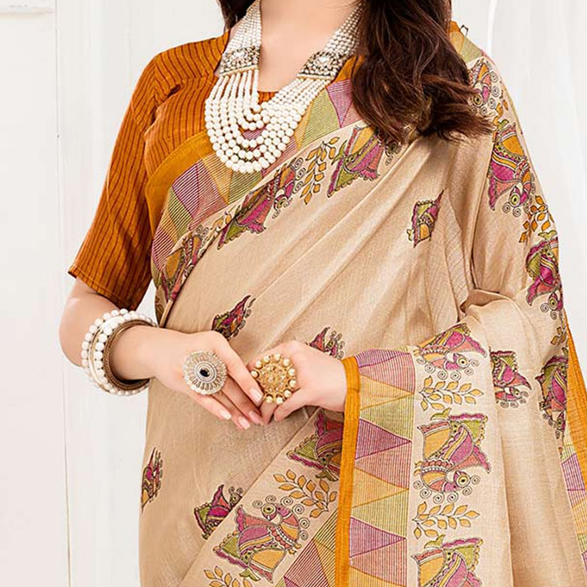 Mesmeric Cream-Yellow Colored Festive Wear Khadi Silk Saree
