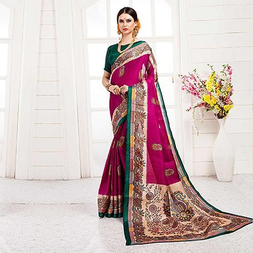 Ravishing Rani Pink Colored Festive Wear Khadi Silk Saree