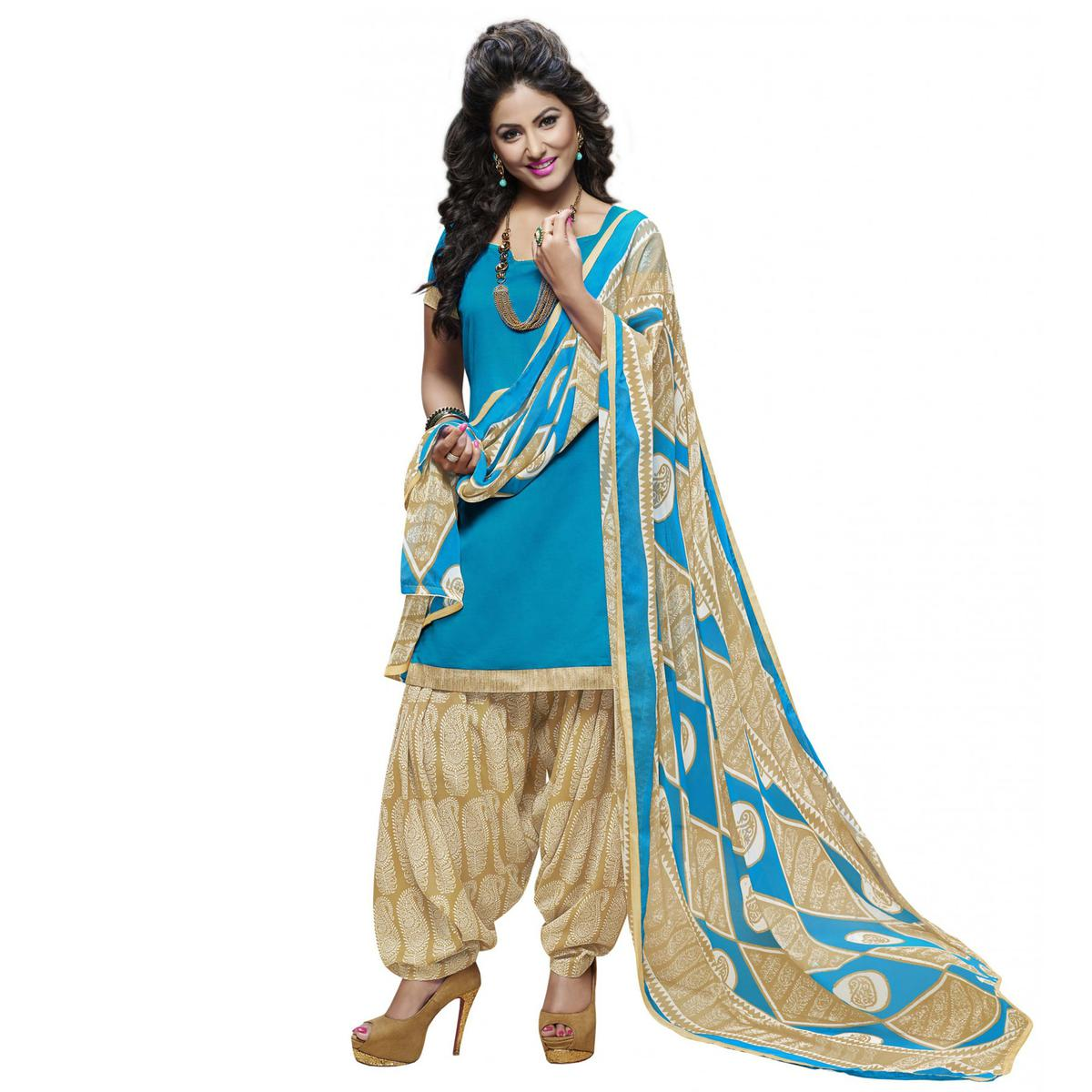 Stylish Blue And Beige Cotton Dress Material With Matching Dupatta