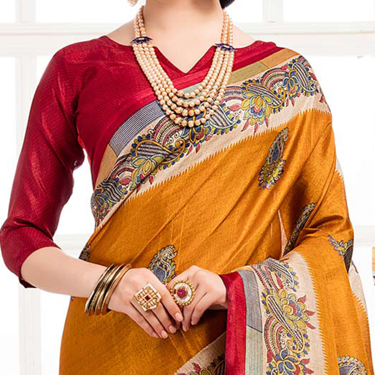 Gorgeous Yellow Colored Festive Wear Khadi Silk Saree