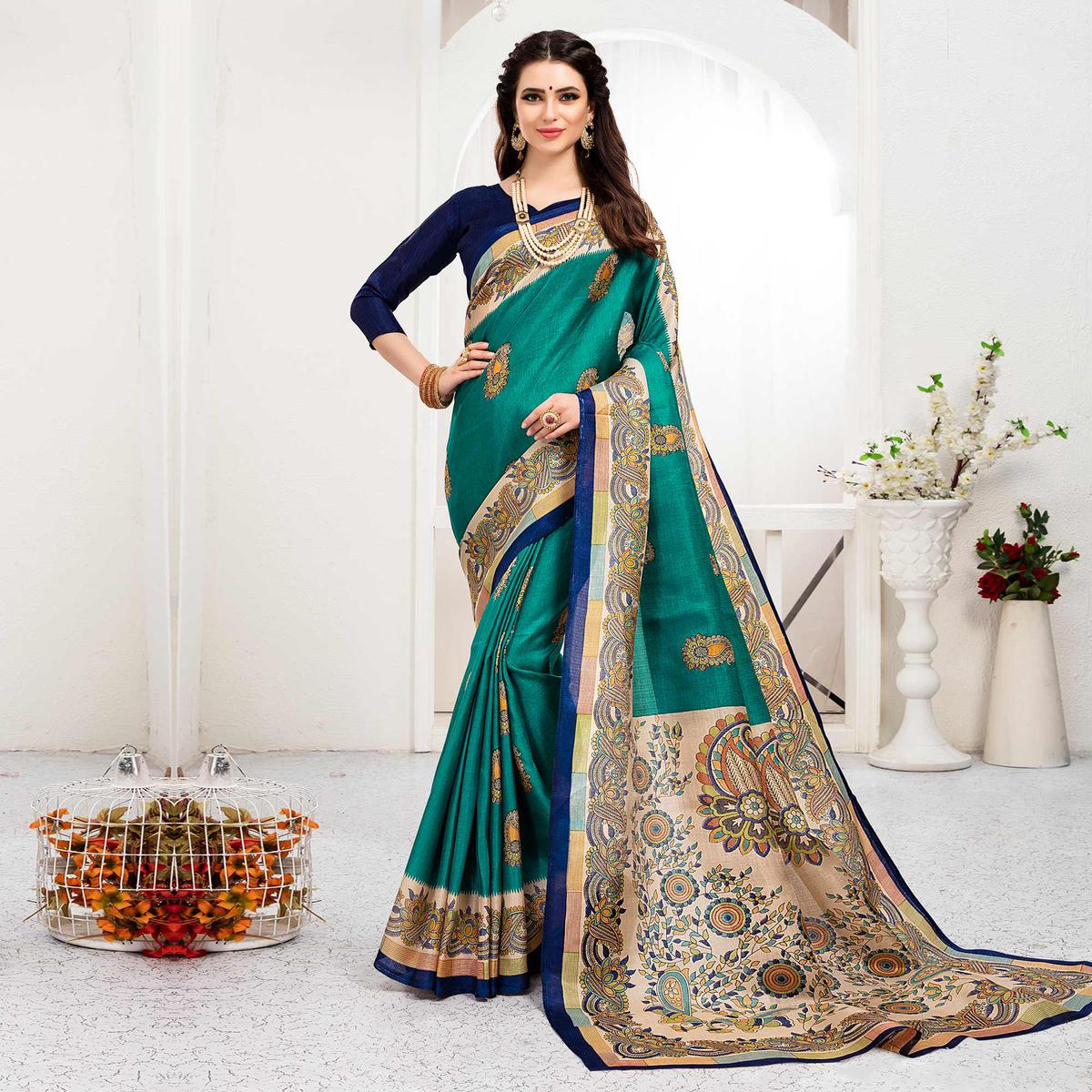 Blooming Turquoise Green Colored Festive Wear Khadi Silk Saree