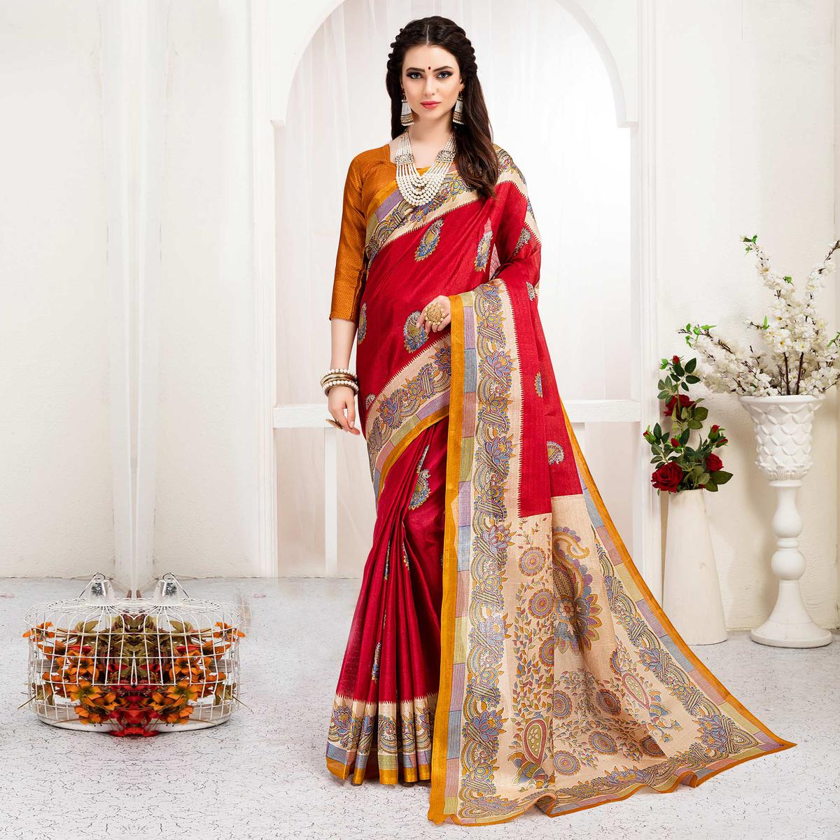 Desiring Red Colored Festive Wear Khadi Silk Saree