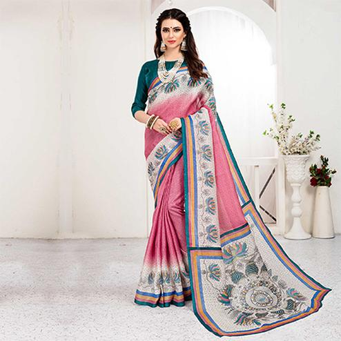 Pretty Pink Colored Festive Wear Khadi Silk Saree