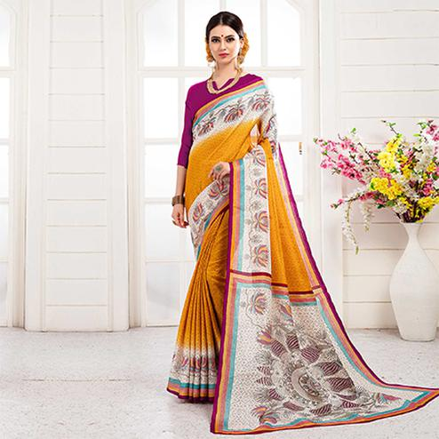 Refreshing Yellow Colored Festive Wear Khadi Silk Saree