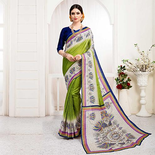 Energetic Green Colored Festive Wear Khadi Silk Saree