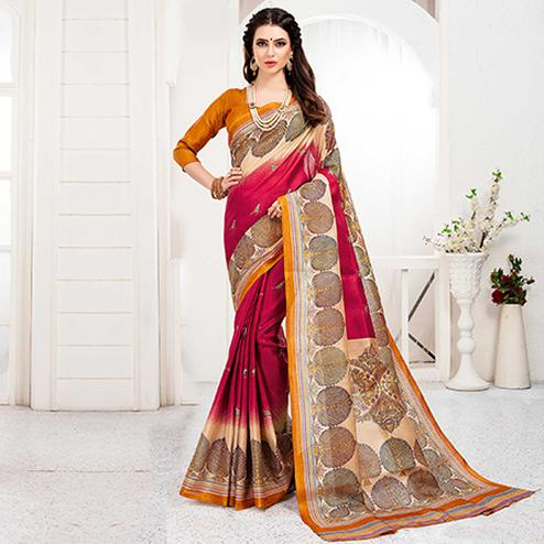 Groovy Red Colored Festive Wear Khadi Silk Saree