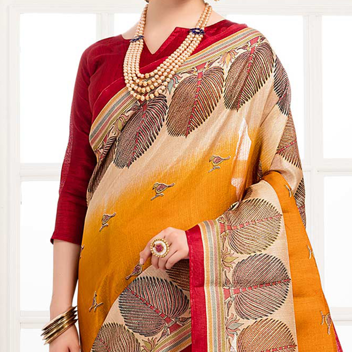 Unique Yellow Colored Festive Wear Khadi Silk Saree
