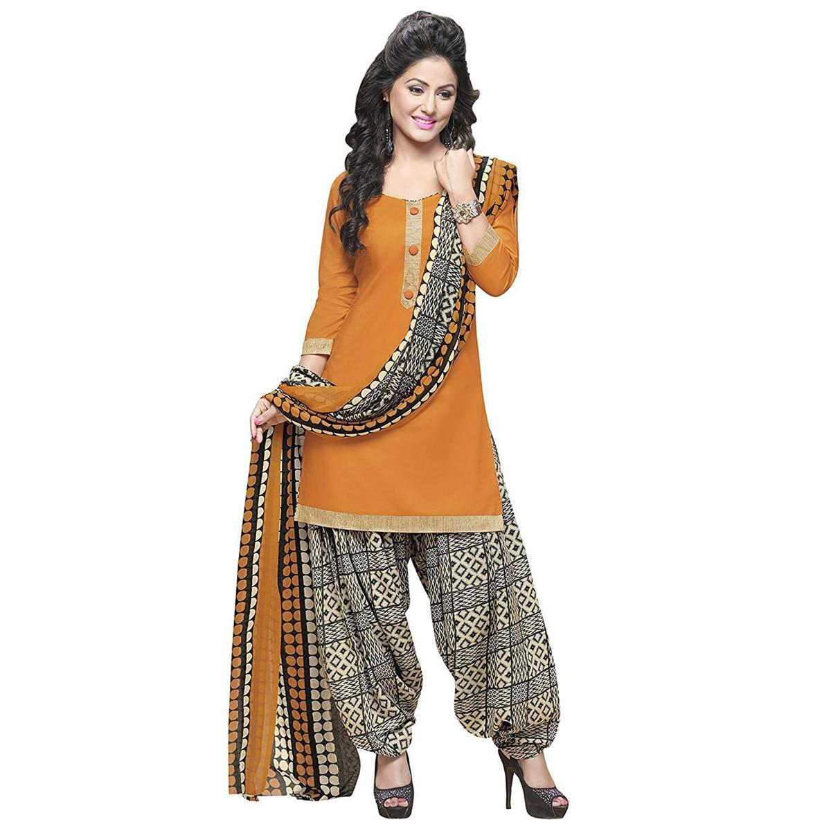 Stunning Orange And Black Cotton Dress Material With Matching Dupatta