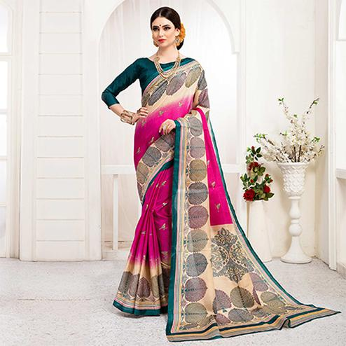 Dazzling Rani Pink Colored Festive Wear Khadi Silk Saree