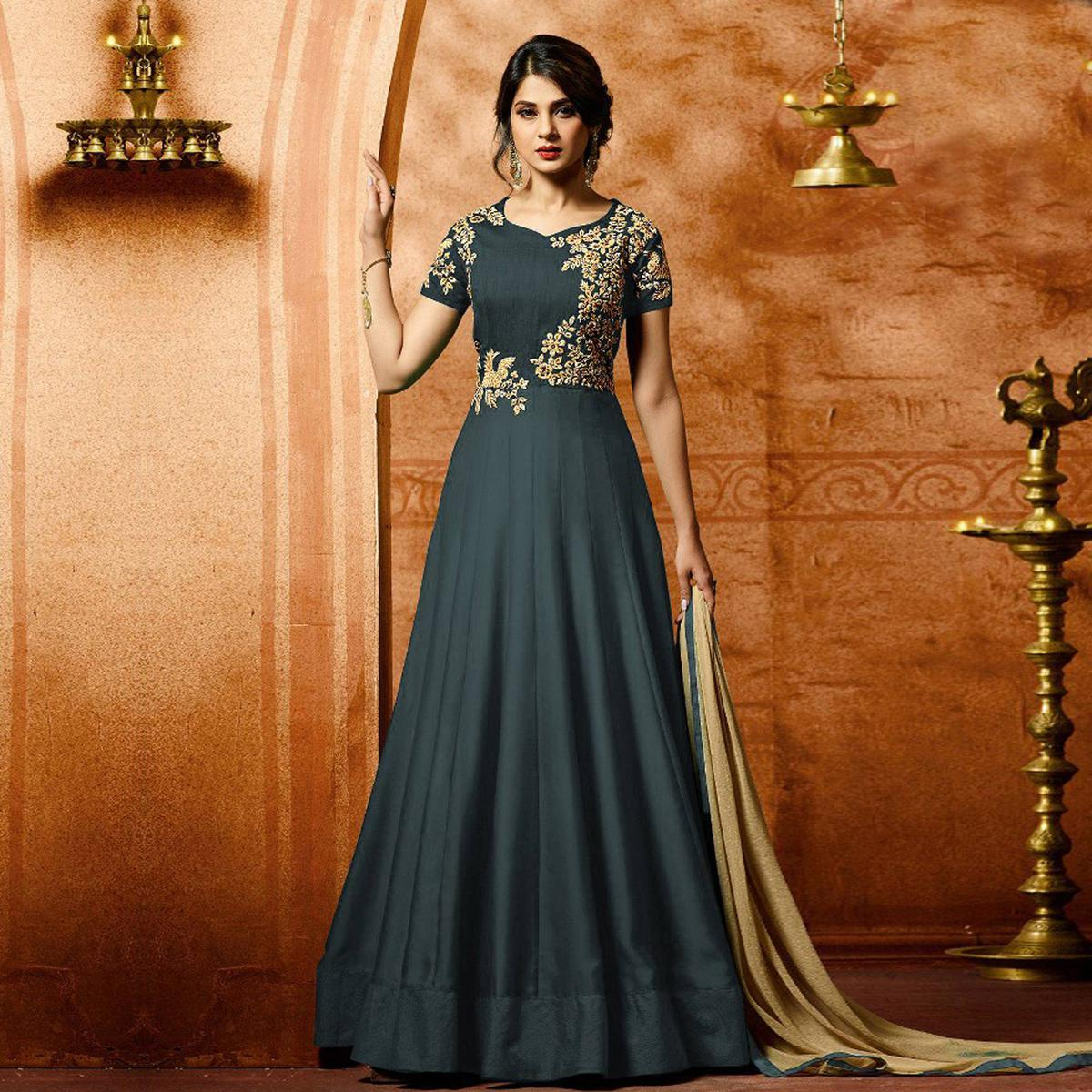 Grey Colored Designer Embroidered Work Party Wear Georgette Anarkali Suit