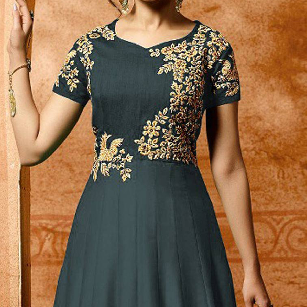 Grey Colored Designer Embroidered Work Party Wear Faux Georgette Anarkali Suit