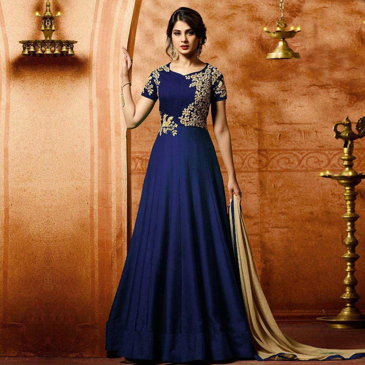 Blue Colored Designer Embroidered Work Party Wear Faux Georgette Anarkali Suit