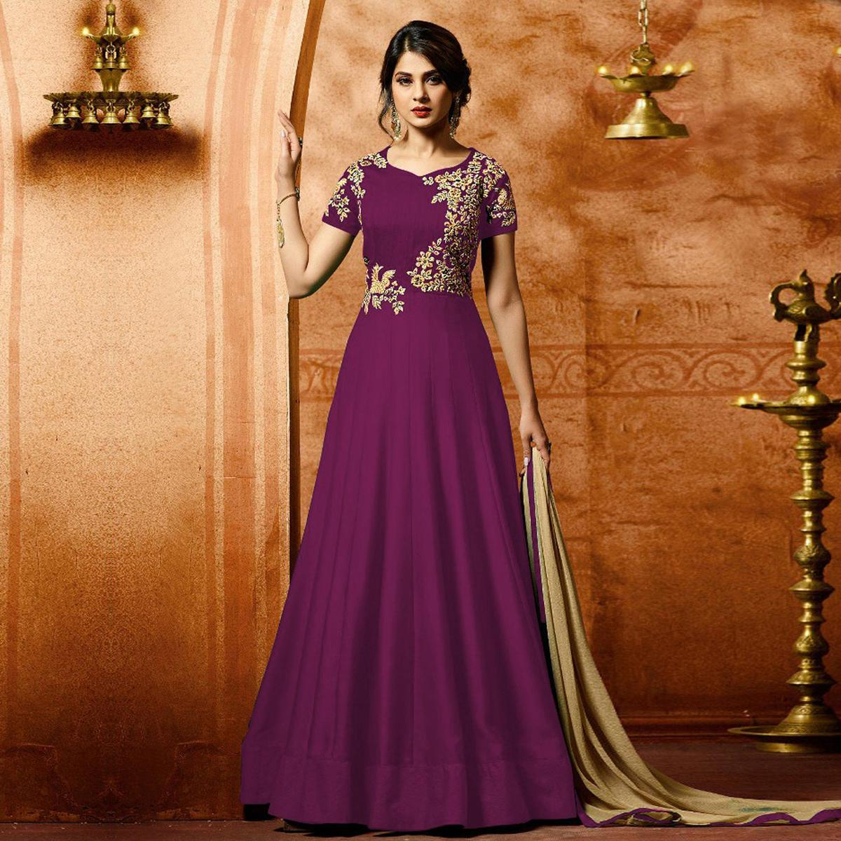 Wine Colored Designer Embroidered Work Party Wear Faux Georgette Anarkali Suit