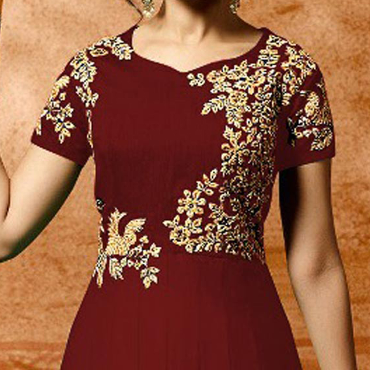 Maroon Colored Designer Embroidered Work Party Wear Faux Georgette Anarkali Suit