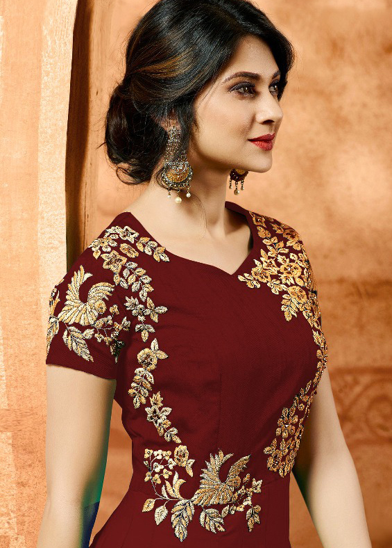 Maroon Colored Designer Embroidered Work Party Wear Georgette Anarkali Suit