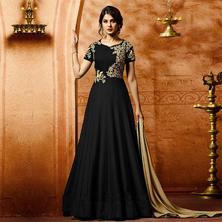 Black Colored Designer Embroidered Work Party Wear Faux Georgette Anarkali Suit