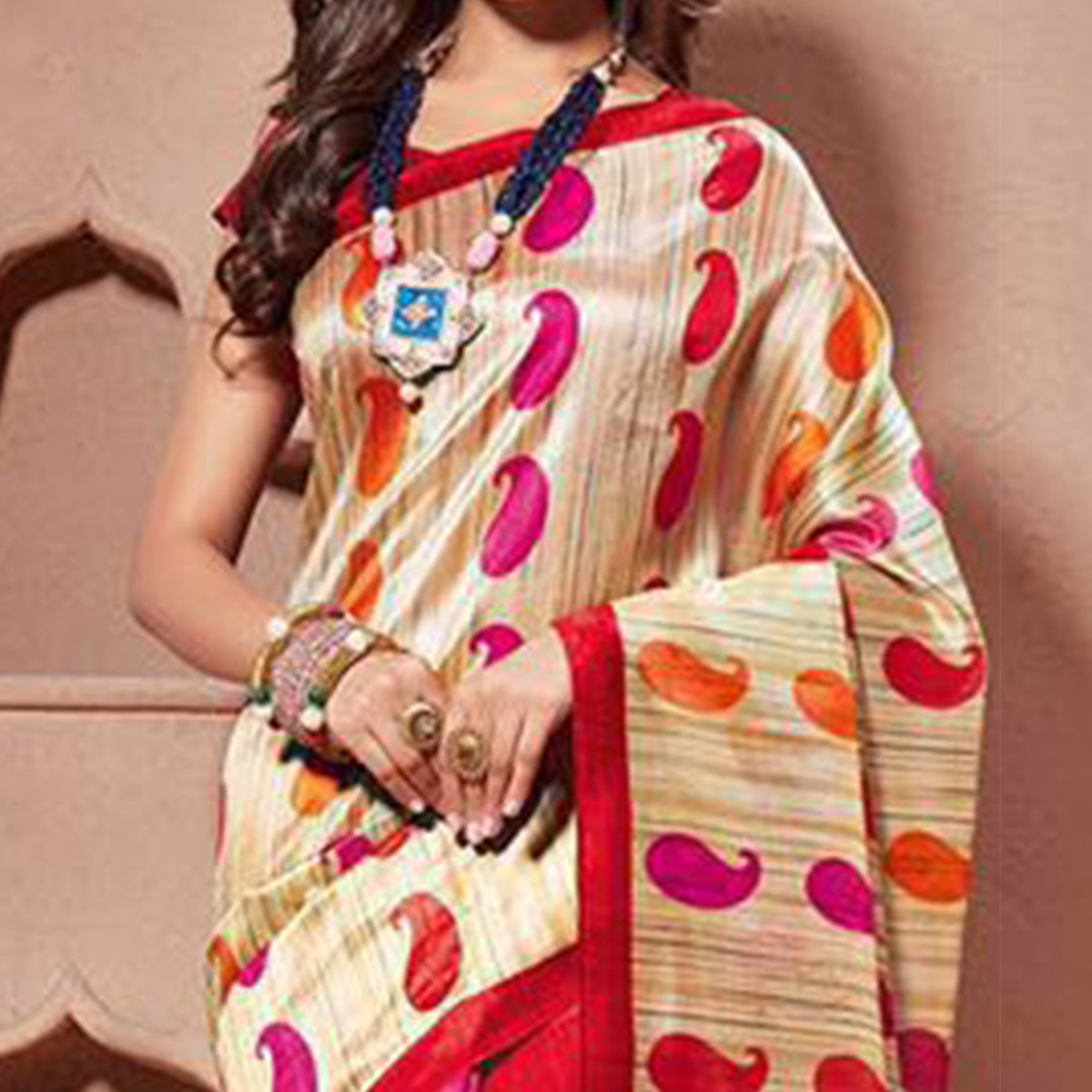 Cream - Magenta Bhagalpuri Silk Saree