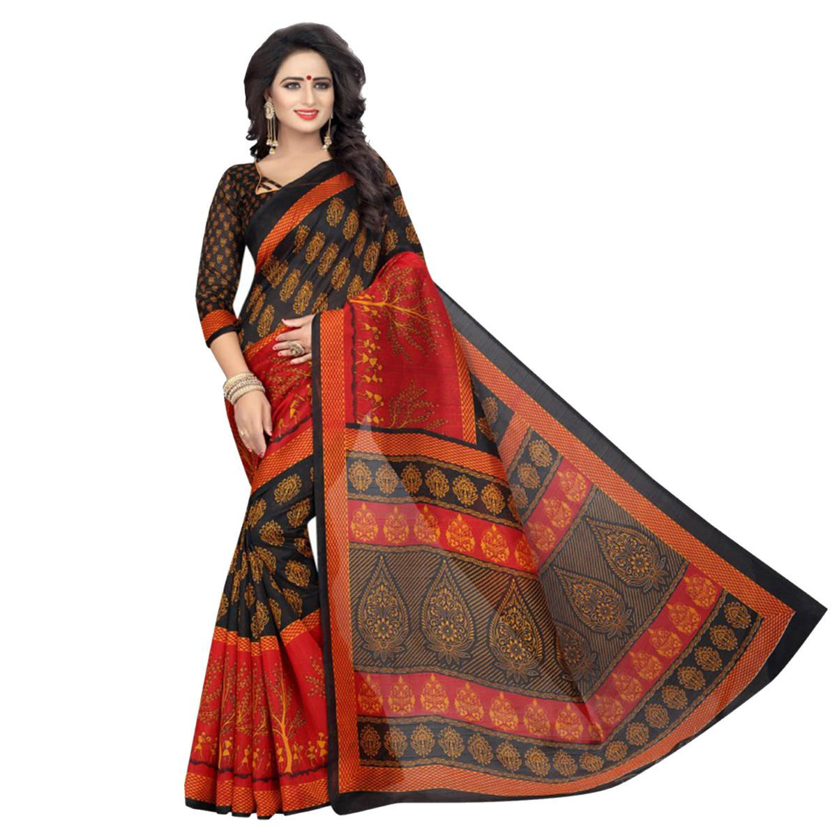 Stylish Black & Red Bhagalpuri Saree