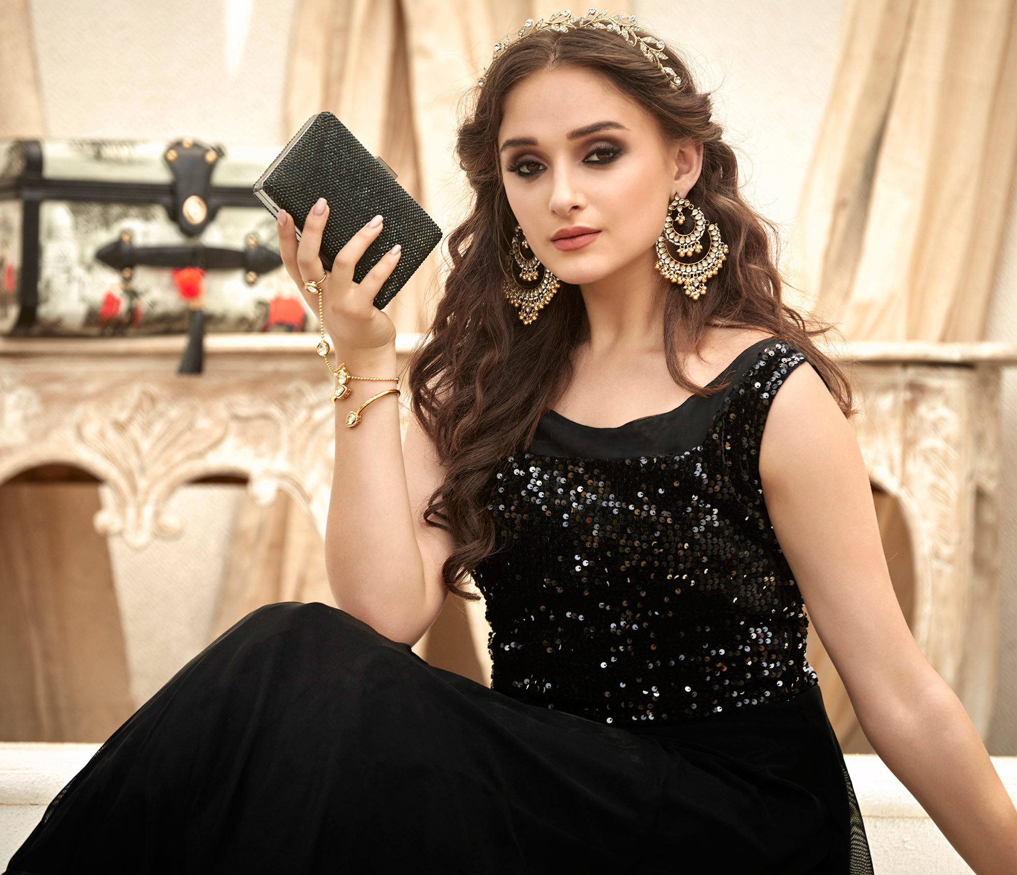 Charming Black Colored Designer Embroidered Work Fancy Fabric Gown