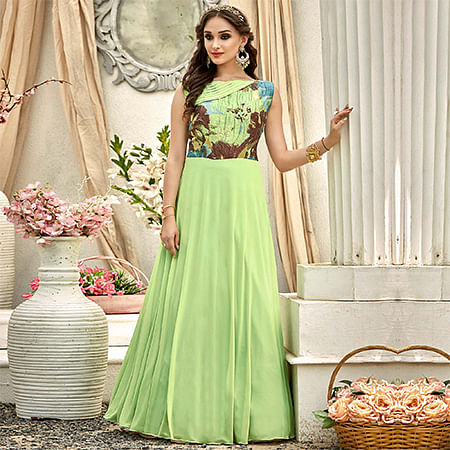 Ravishing Pear Green Colored Designer Embroidered Work Fancy Fabric Gown