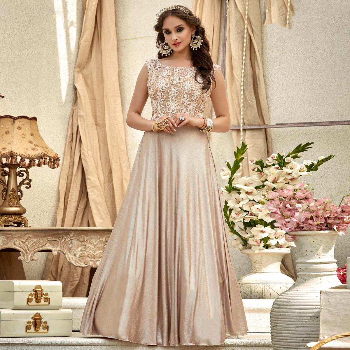 Delightful Beige Colored Designer Embroidered Work Fancy Fabric Gown