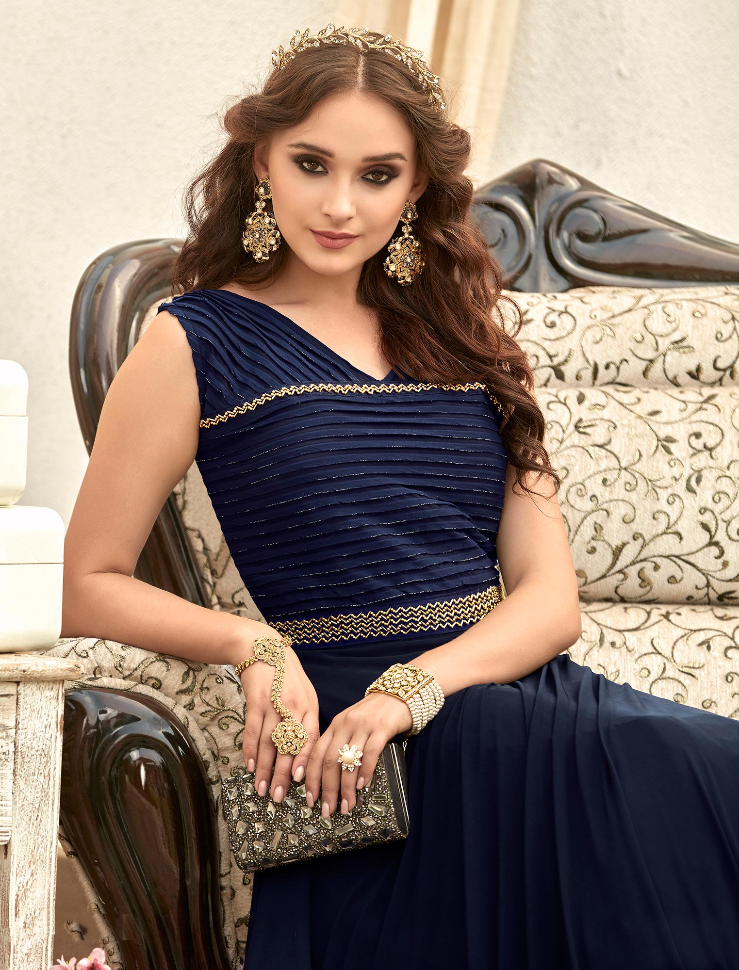 Stunning Blue Colored Designer Embroidered Work Fancy Fabric Gown