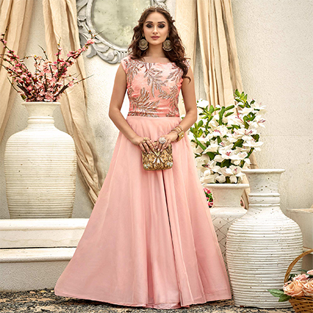 Blooming Light Pink Colored Designer Embroidered Work Fancy Fabric Gown