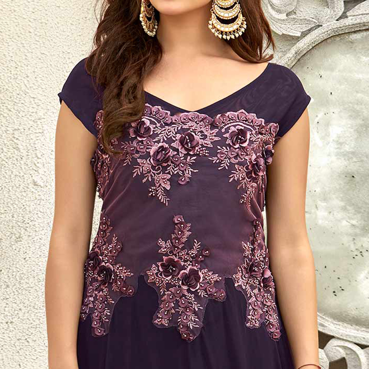 Mesmerising Purple Colored Designer Embroidered Work Fancy Fabric Gown