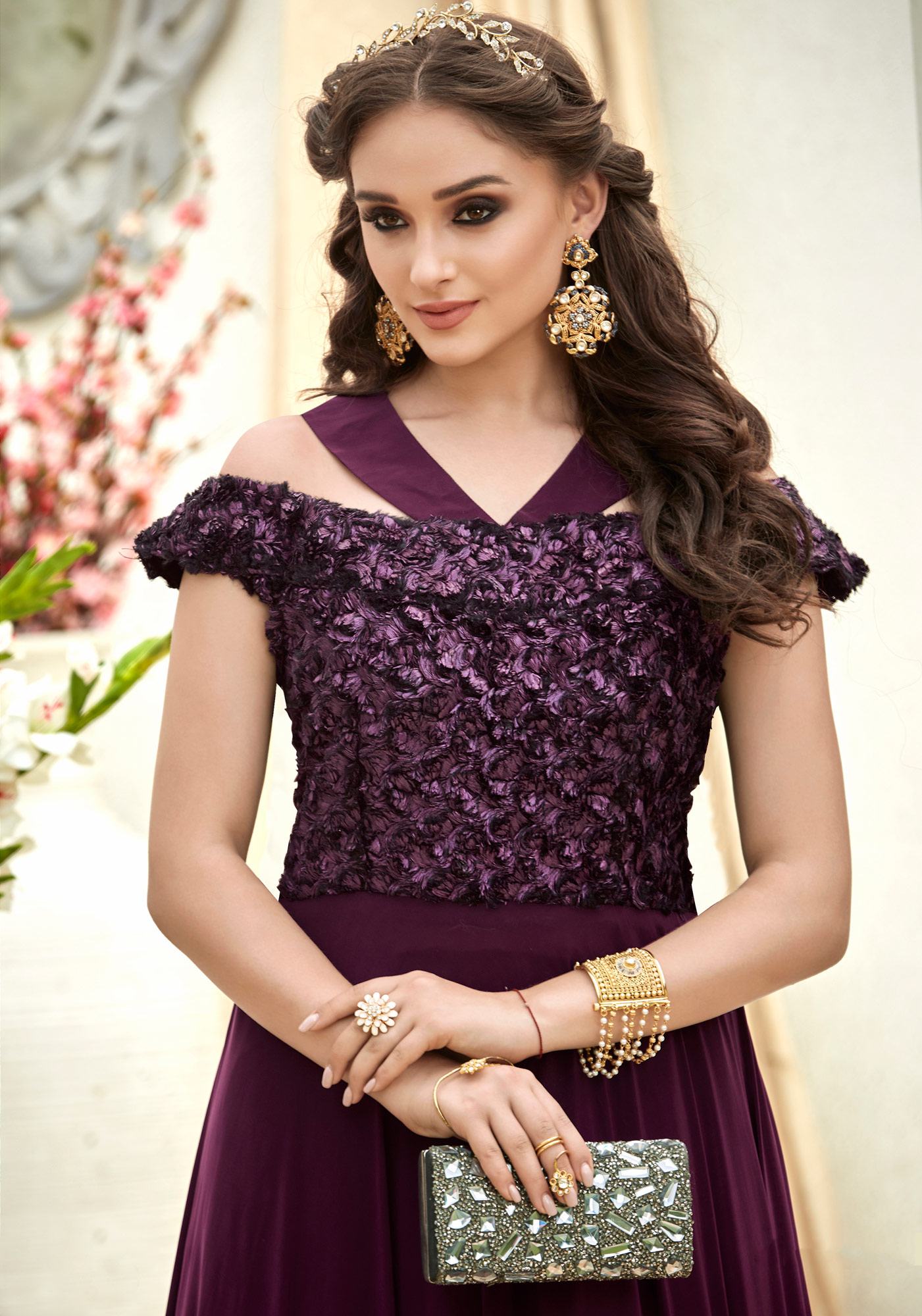 Ravishing Wine Colored Designer Embroidered Work Fancy Fabric Gown