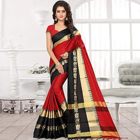 Beautiful Red-Black Colored Festive Wear Jacquard Saree