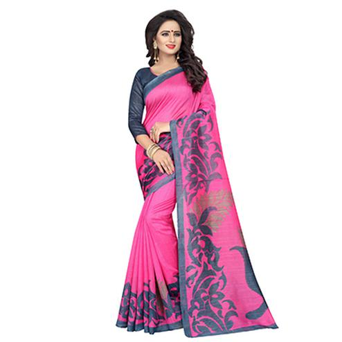 Adorable Pink And Black Bhagalpuri Saree