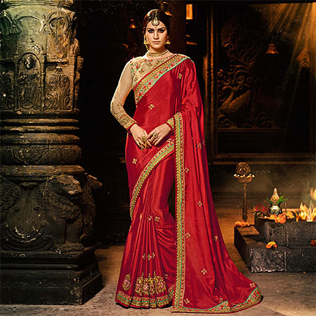Ravishing Red Colored Embroidered Work Party Wear Silk Chiffon Saree