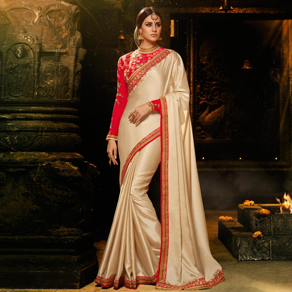 Delightful Cream Colored Embroidered Work Party Wear Soft Silk Saree