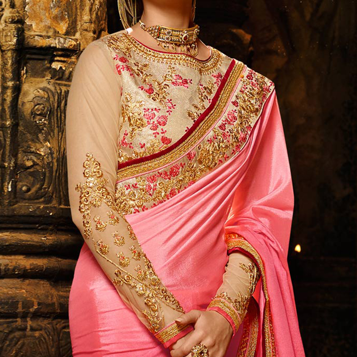 Stunning Pink Colored Embroidered Work Party Wear Soft Silk Saree