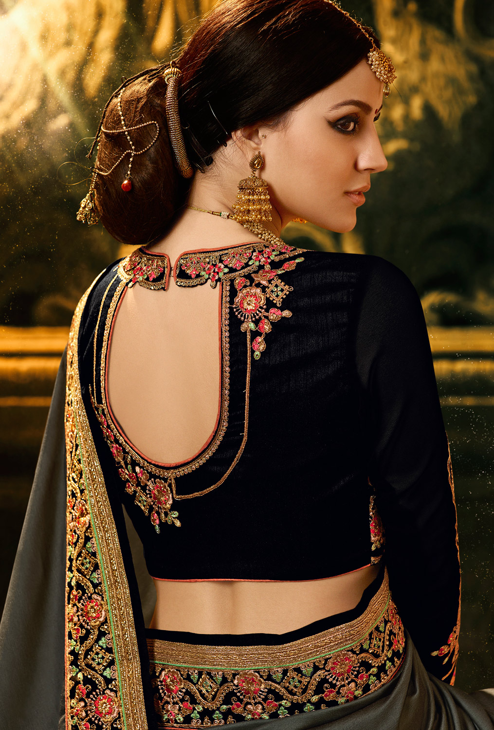 Blooming Dark Grey Colored Embroidered Work Party Wear Soft Silk Saree