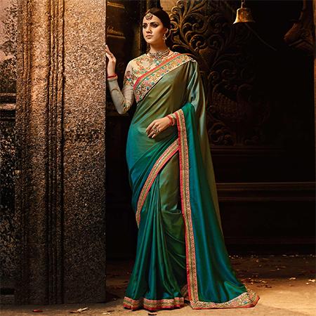 Marvellous Blue & Green Colored Embroidered Work Party Wear Soft Silk Saree