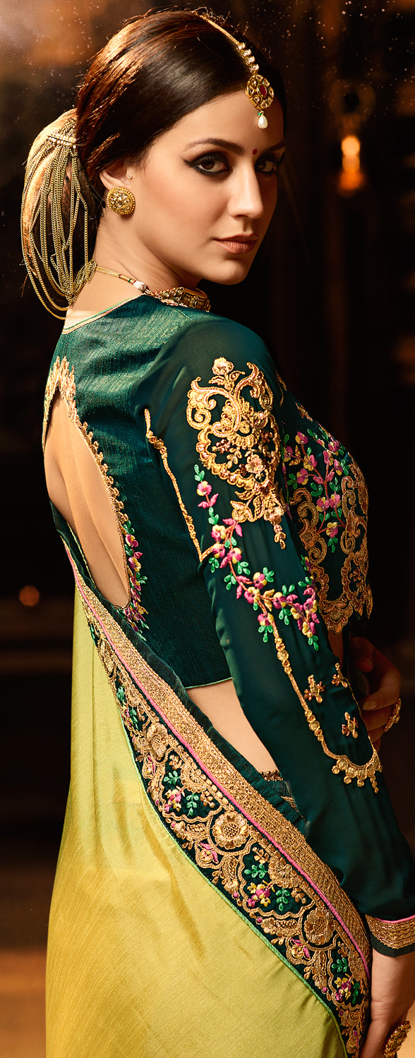 Mesmerising Pear Green Colored Embroidered Work Party Wear Soft Silk Saree