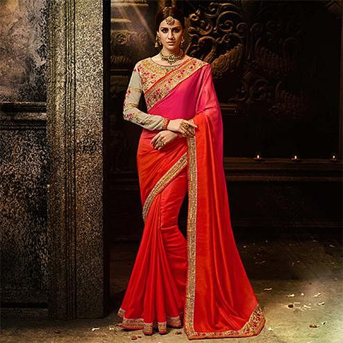 Ravishing Orange & Pink Colored Embroidered Work Party Wear Soft Silk Saree