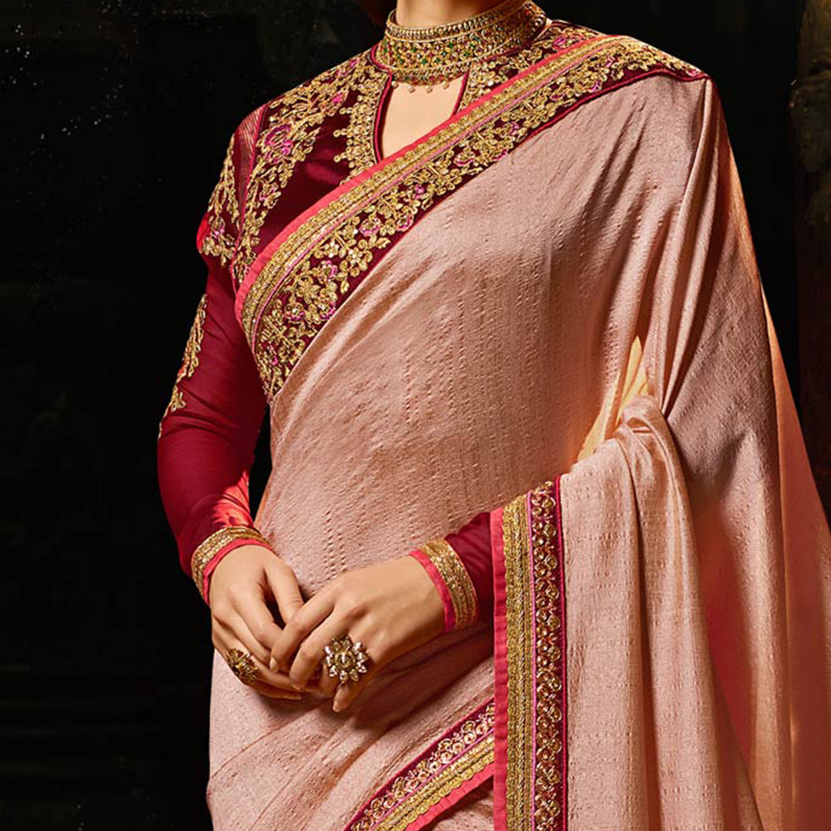 Eye-catching Dusty Pink Colored Embroidered Work Party Wear Soft Silk Saree
