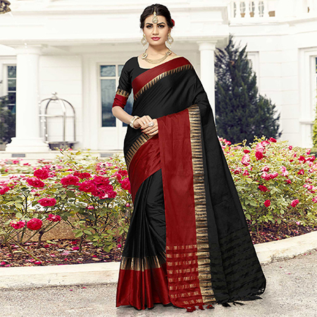 Glorious Black-Red Colored Festive Wear Cotton Silk Saree