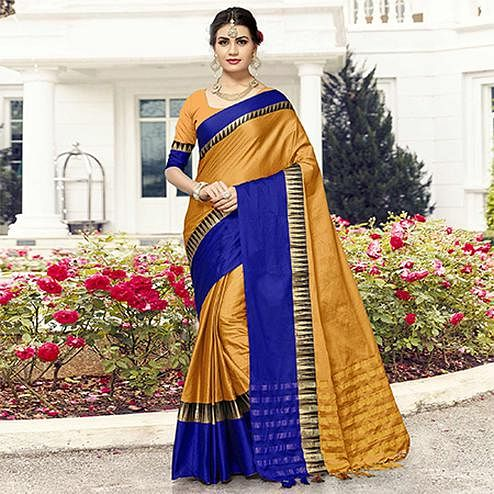 Stunning Golden-Blue Colored Festive Wear Cotton Silk Saree