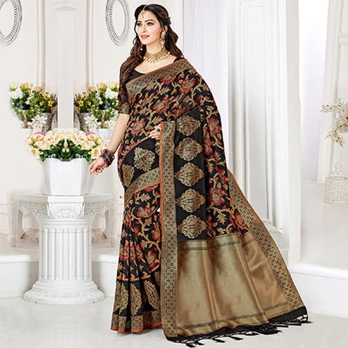 Elegant Black Colored Festive Wear Woven Banarasi Silk Saree