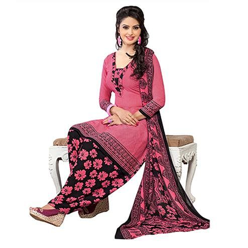 Delightful Gajri French Crepe Dress Material With Matching Dupatta