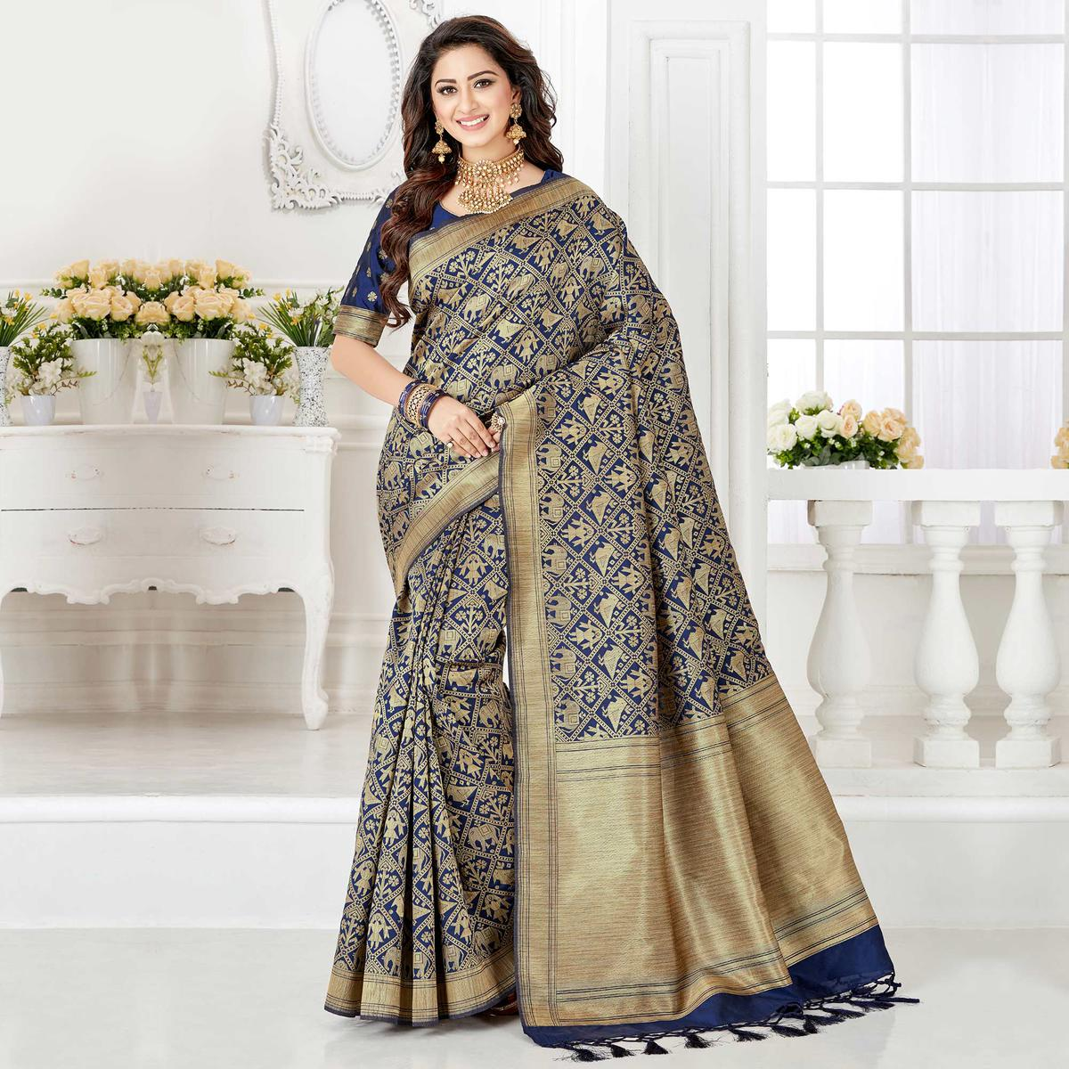 Beautiful Navy Blue Colored Festive Wear Woven Banarasi Silk Saree